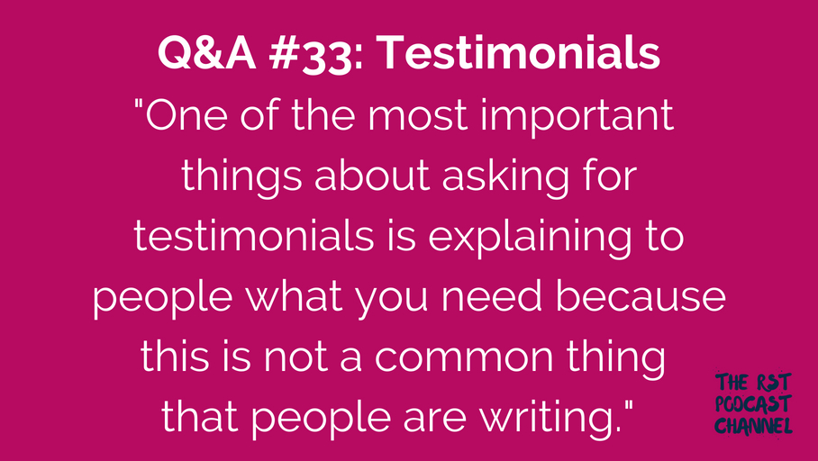 Q&A #33: Testimonials