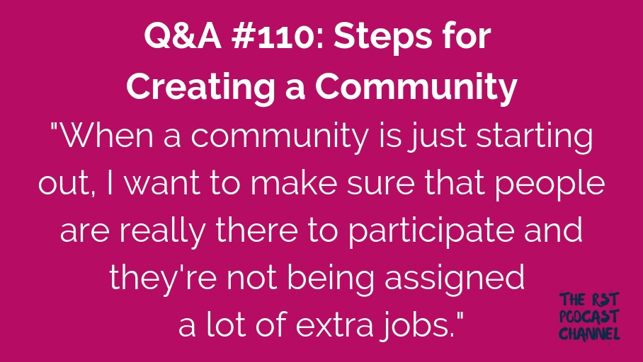 Q&A #110: Steps for Creating a Community