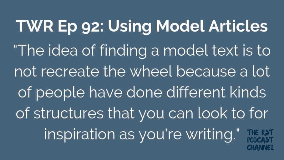 TWR 92: Using Model Articles